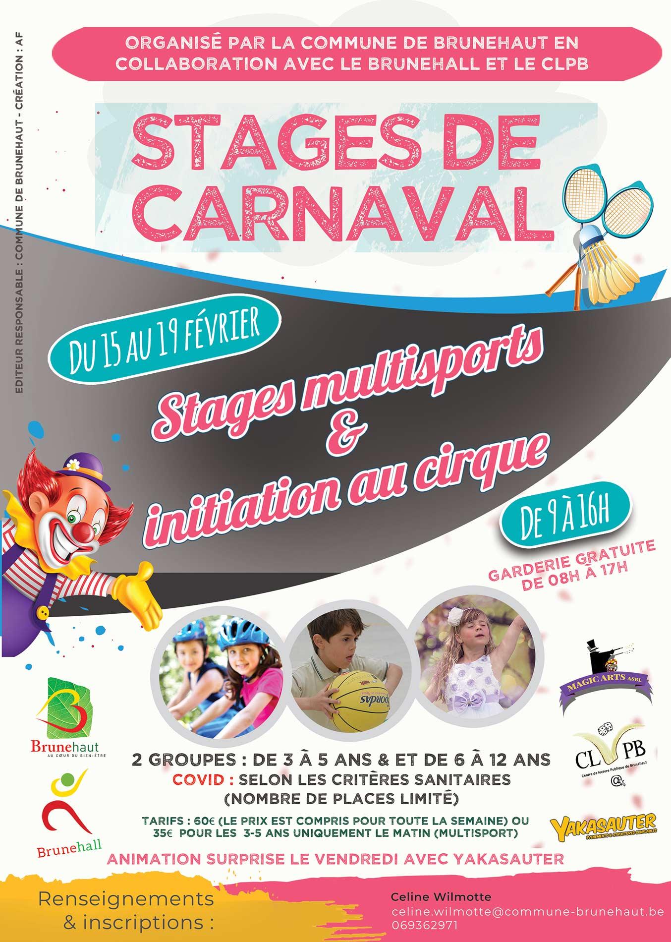 Stages de Carnaval 2021 à Brunehaut